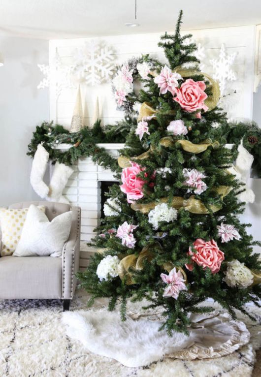 Amazing Christmas Trees Decoration With Flowers