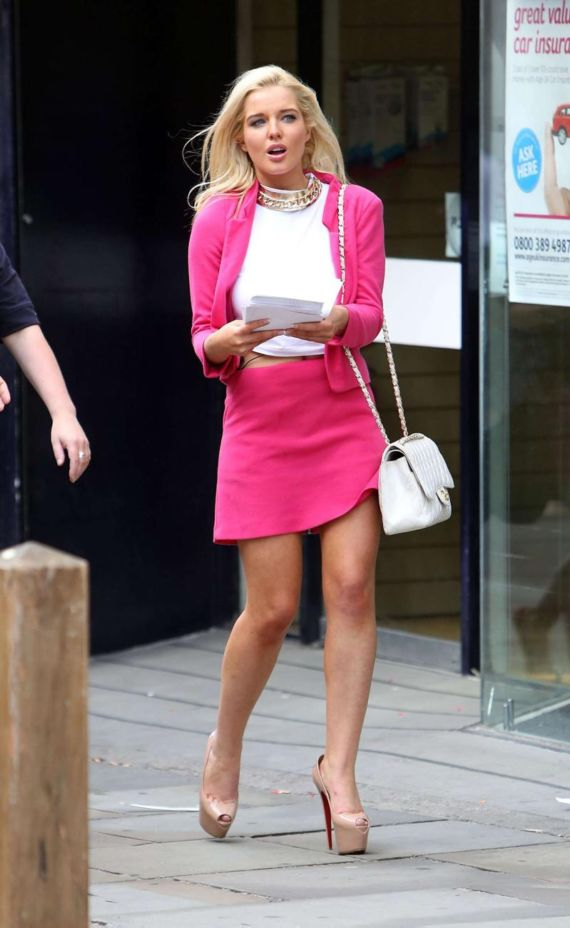 Helen Flanagan In A Bright Pink Skirt