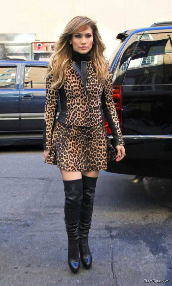 Jennifer Lopez In A Leopard Print Dress